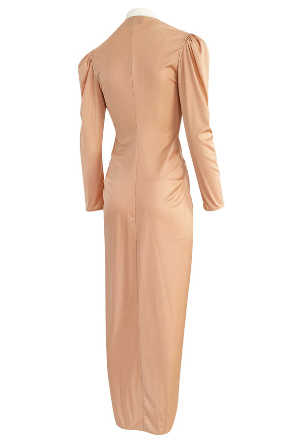 1981 Bill Tice Peach Nylon Jersey Long Sleeve Deep Plunge Dress w Gold Lame Flower & Trim