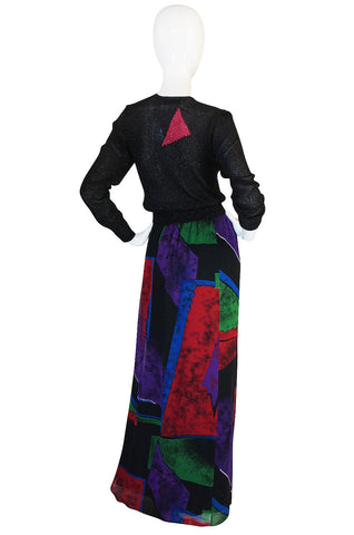 Incredible 1970s Hanae Mori Silk Chiffon Skirt & Knit Top
