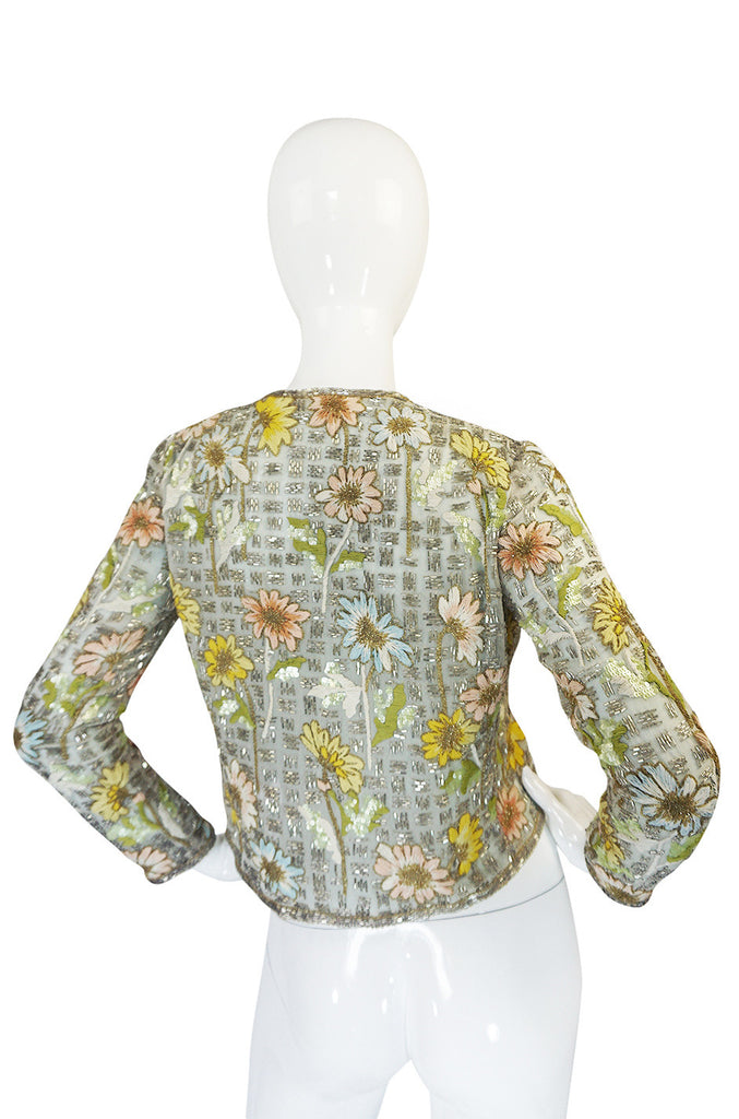1970s Chanel Haute Couture Lesage Bead, Sequin & Embroidered Silk Jacket