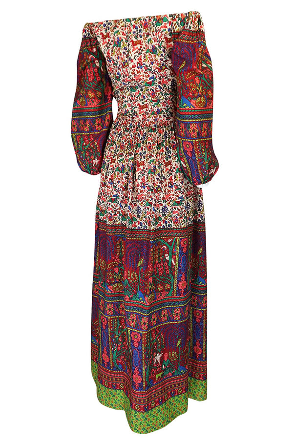 1960s Richilene Off Shoulder Pouf Sleeve Bohemian Printed Silk Dress
