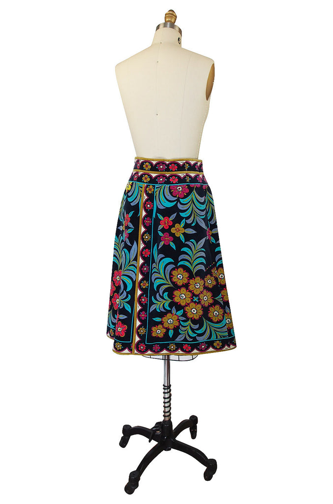 1960s Multi Color Emilio Pucci Velvet Skirt