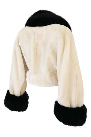 1994 Franco Moschino Ivory & Black Question Mark Faux Fur Cropped Jacket