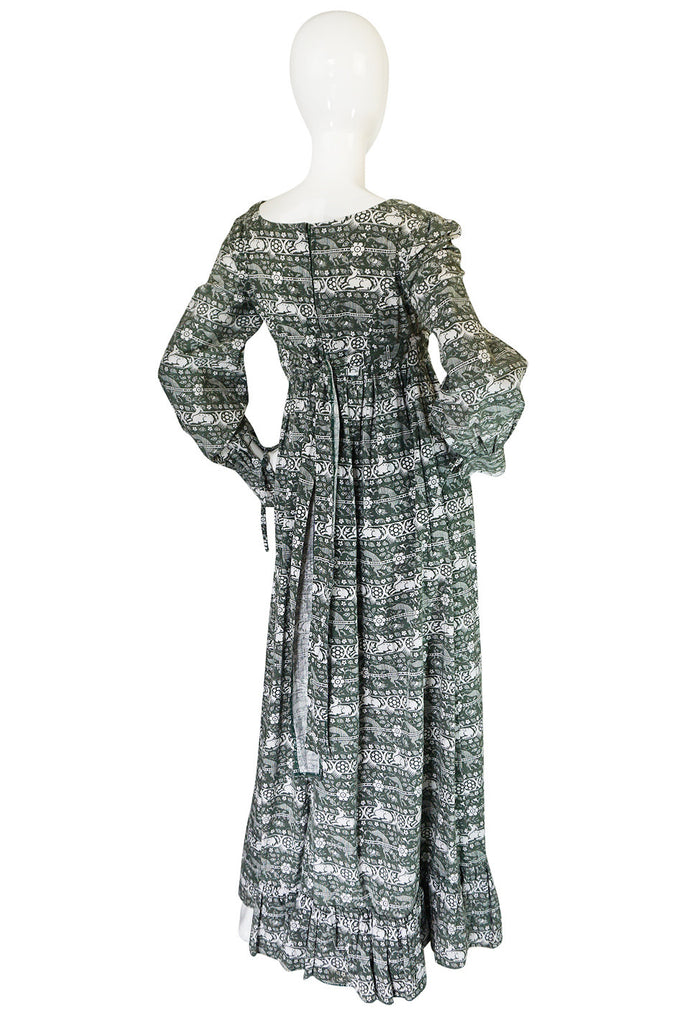 Now On Sale - 1960s Laura Ashley Green Print Dress