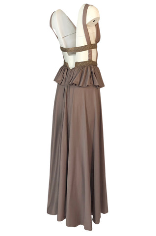 1970s Jean Varon Grecian Inspired Plunging Front & Crossed Back Dress