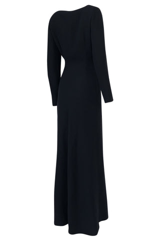 1990s Christian Dior Supermodel Length Navy Side Button Dress