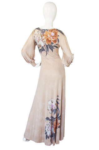 c.1976 Mac Tac Floral Printed Nylon Jersey Dress w Balloon Sleeves
