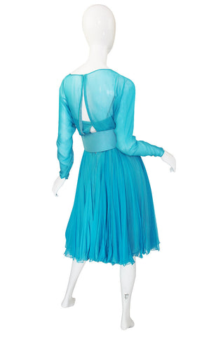 1960s Stunning Blue Silk Chiffon James Galanos Dress