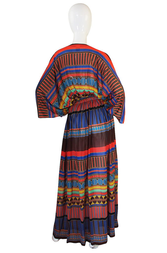 1970s Gottex Plunging Striped Wrap Caftan Dress