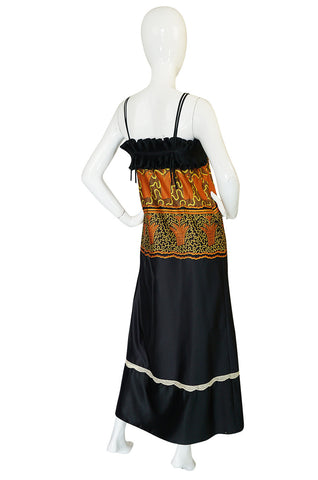 1970s Zandra Rhodes Print & Black Dramatic Lingerie Dress