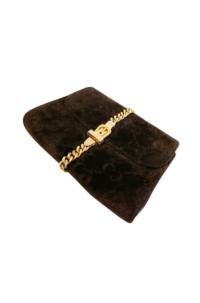 Fantastic 1970s Brown Velvet and Gold Buckle Gucci Clutch