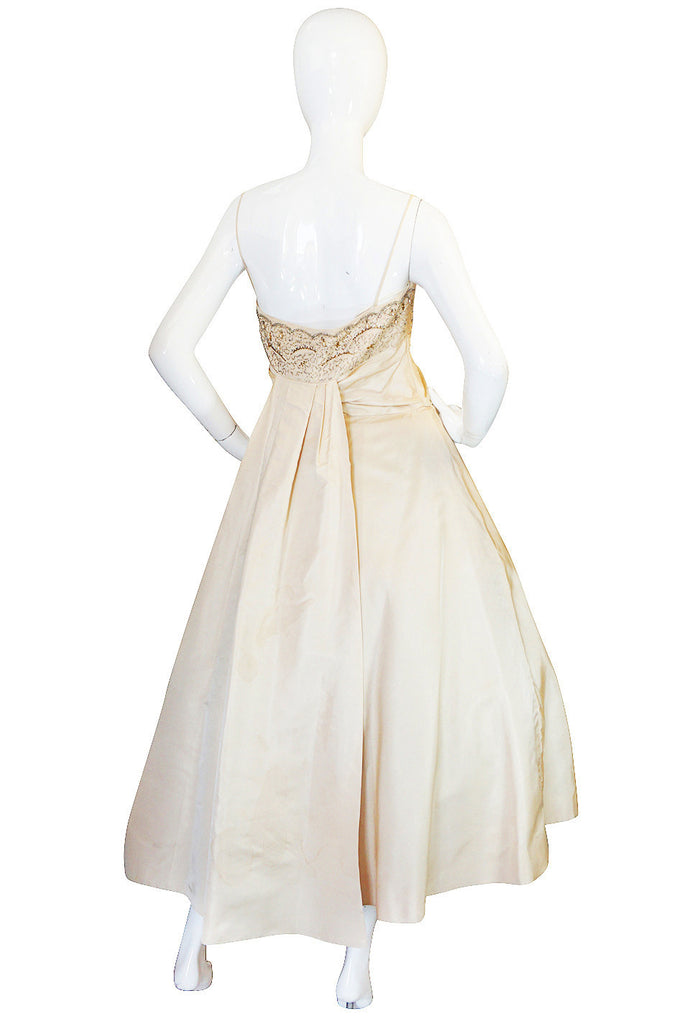 1950s Frank Starr Beaded Silk Full Skirt Dress