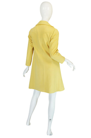 Chic 1970s Pierre Cardin RTW Sleek Little Yellow Coat