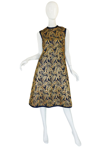 1960s Metallic Gold & Blue Malcolm Starr Dress & Jacket