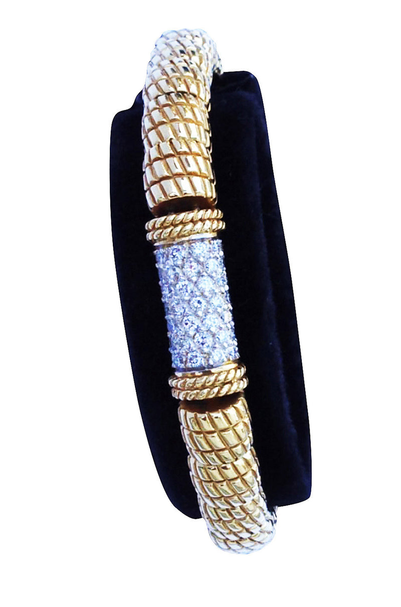 1980s D Angelo Gold Diamond Bracelet