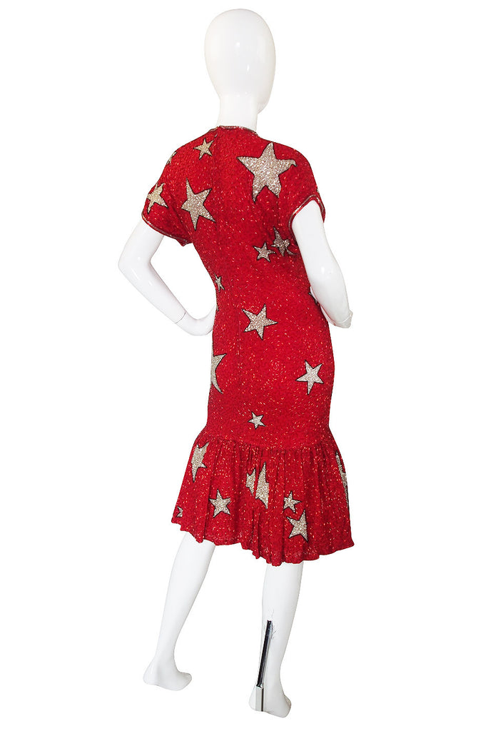 1980s Beaded Red & Silver Stars Dress
