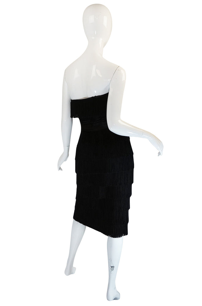 1950s Strapless Black Fringe Edward Abott Dress