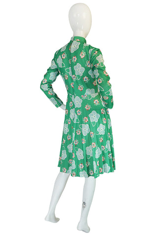 1970s Apple Green Print Washable Jersey Secretary Dress