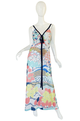 1970s Lanvin Pastel Scenic Printed Jersey Maxi Dress