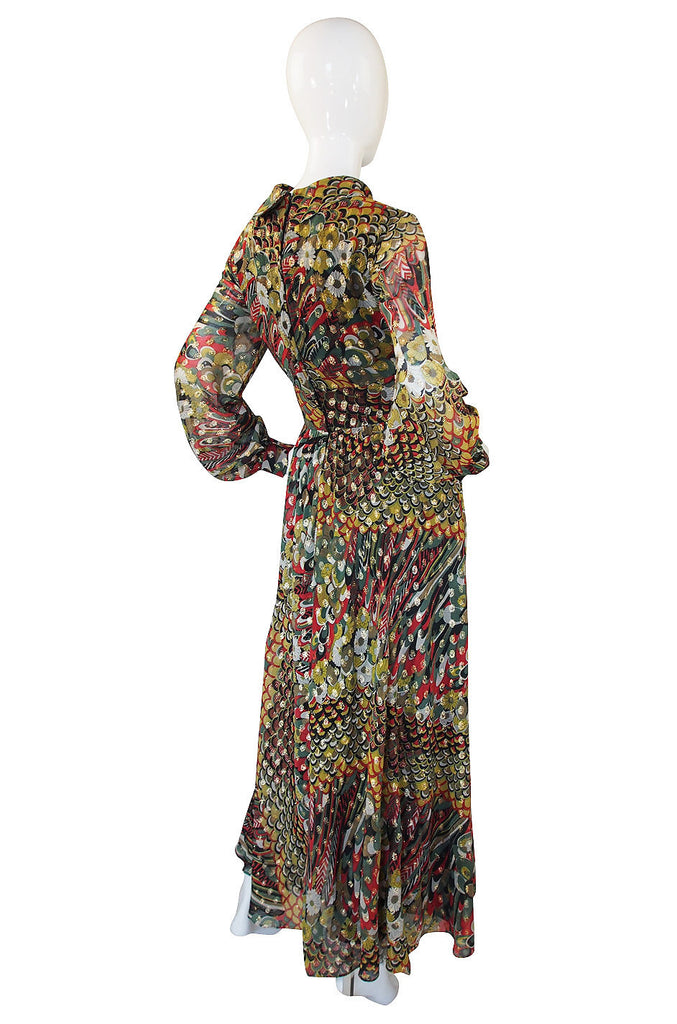 1960s Oscar de la Renta attr. Peacock Maxi Dress