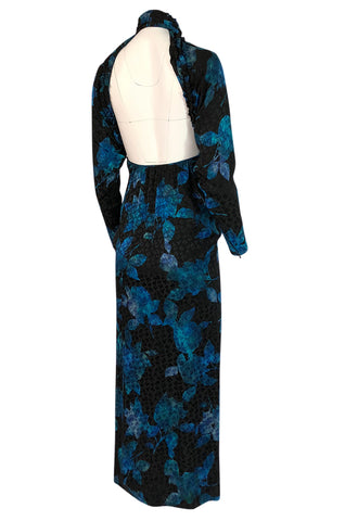 1970s James Galanos Backless Blue Floral Print Ruffled Silk Dress
