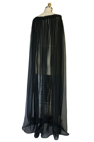 1960s Adolfo Flowing Black Chiffon Evening Cape