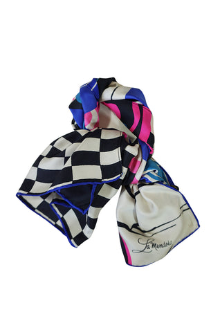1960s La Mendola Swirls & Checks Graphic Print Silk Scarf