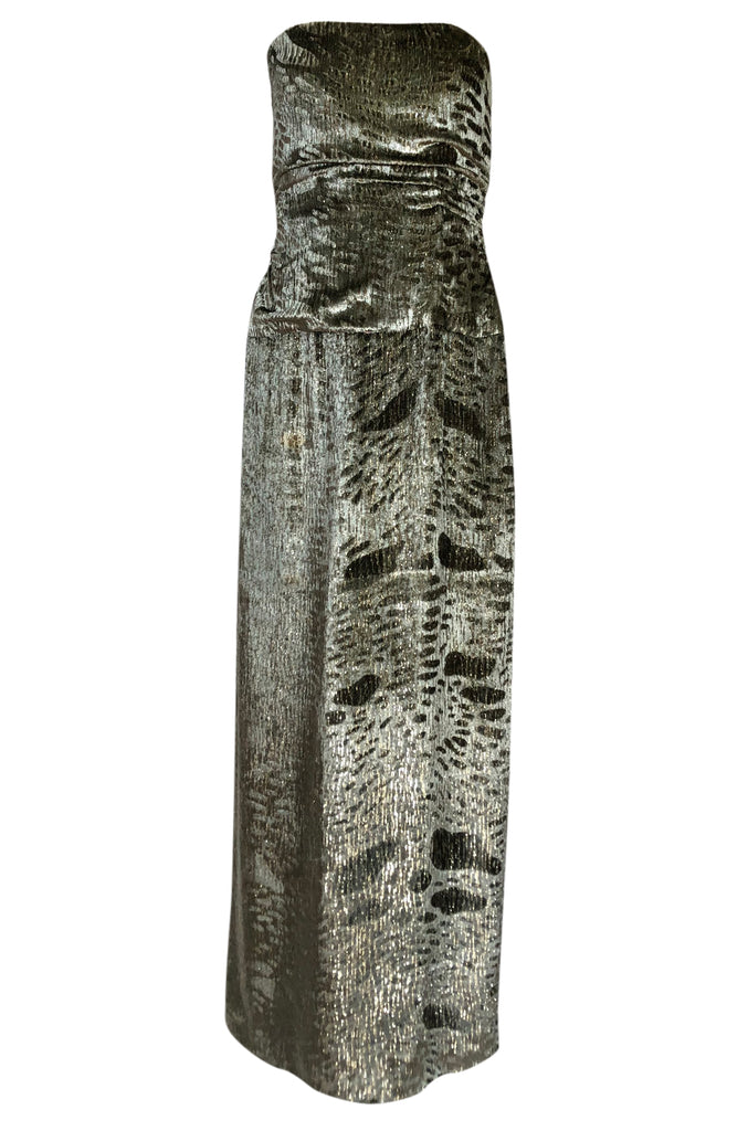Fall 1986 Bill Blass Silk Velvet Lame Beaded Evening Strapless Dress & Jacket