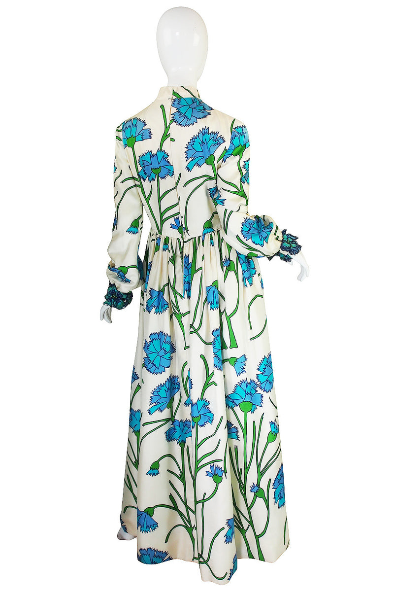1960s Blue Floral Printed George Halley Silk Gown