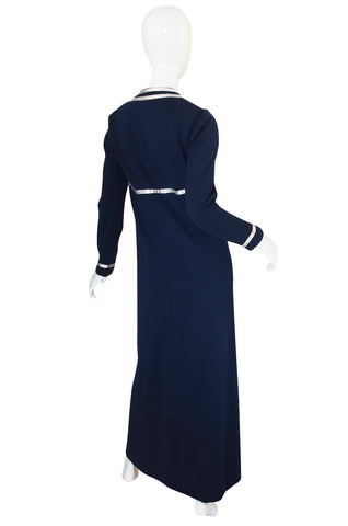 1960s Geoffrey Beene Deep Blue & Graphic Silver Trim Dress