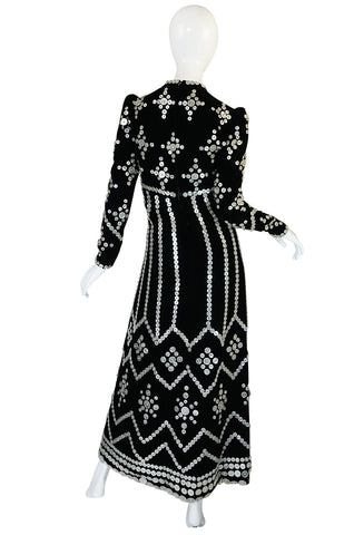 Remarkable 1960s Velvet & MOP Button Covered Dress