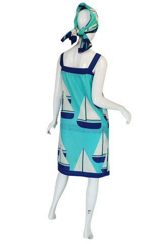1960s Hermes SailBoat Print Shift Dress & Scarf
