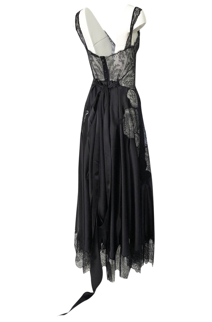 Pre-Fall 2015 Ricardo Tisci for Givenchy Black Silk Satin & Lace Dress