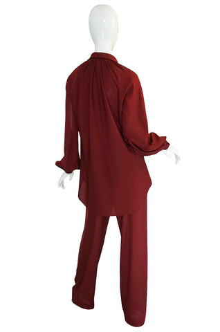 1970s Halston Deep Burgundy Tunic & Pant Set