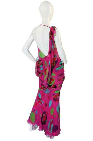 1990s Vivid Pink Print John Galliano for Christian Dior Dress