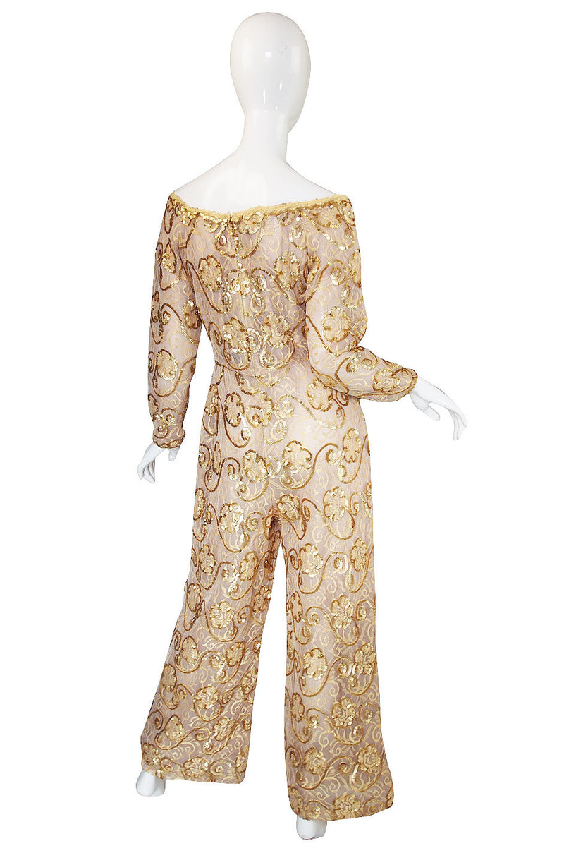 1980s Scaasi Gold Sequin & Net Jumpsuit