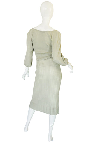 1970s Christian Dior Pale Green Knit Midi Dress
