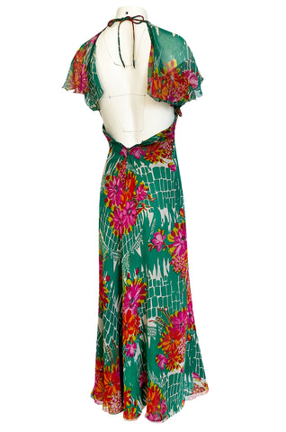 Documented 1973 Scott Barrie Pink & Green Floral Backless Silk Chiffon Dress