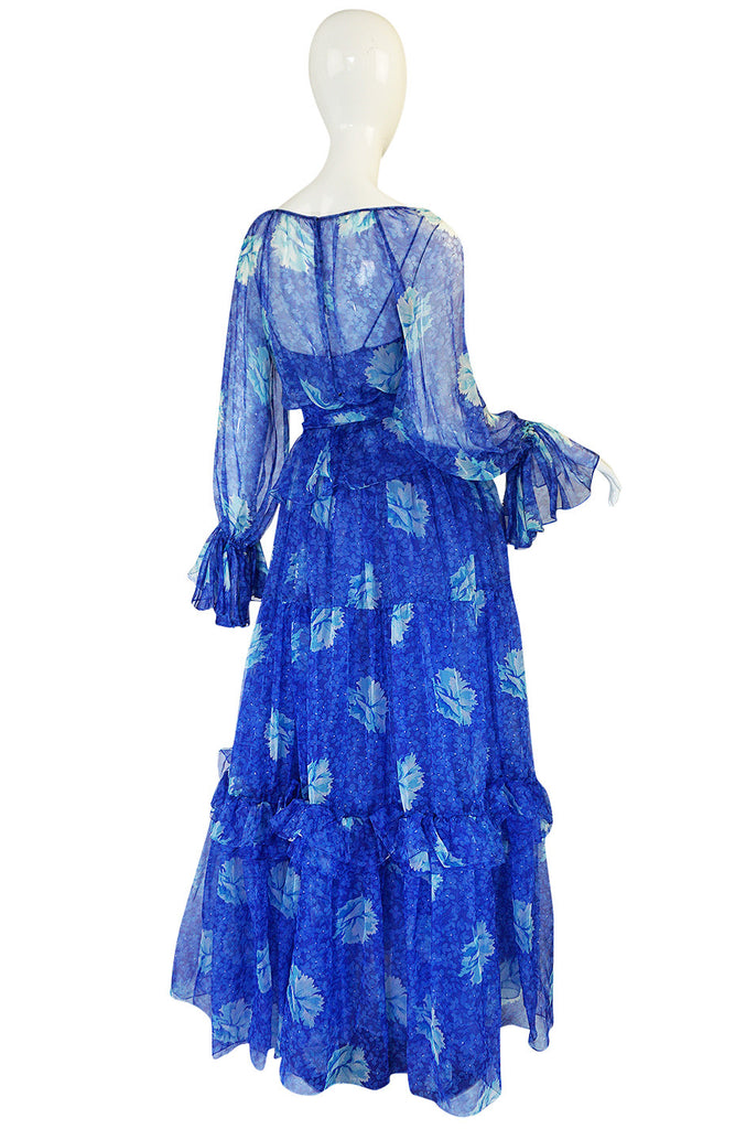 1970s Blue Tiered Floral Silk Chiffon Oscar de la Renta Dress
