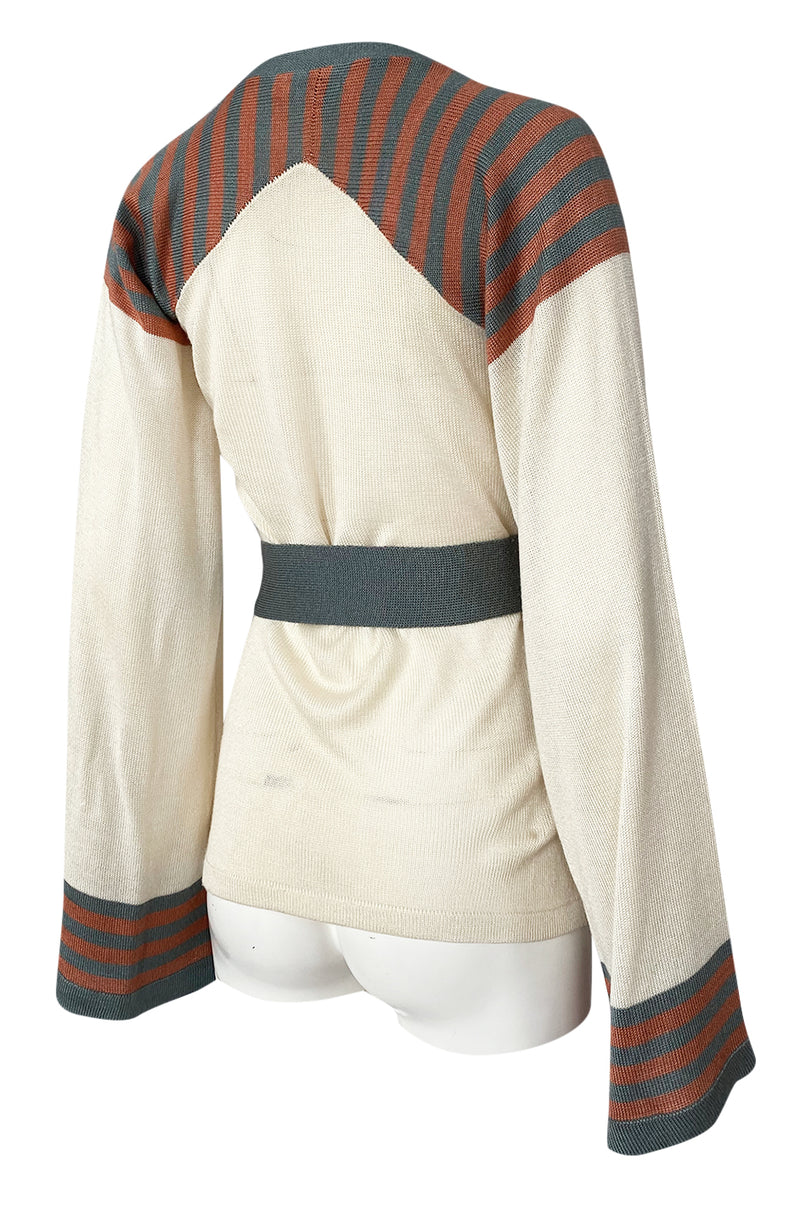 Rare 1970s Ossie Clark Couture Flared Sleeve Sweater w Belt
