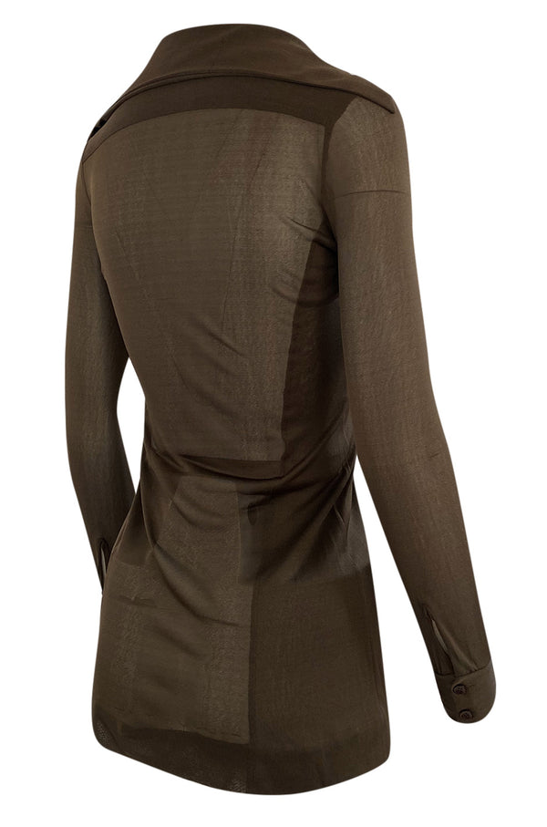 c.1975 Halston Brown Silk Nylon Jersey Sheer Sleeves and Back Front Button Top