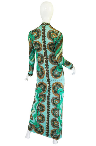 1970s Green Print Emilio Pucci Silk Jersey Dress
