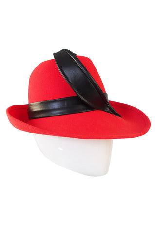 1960s Red Mr John Fedora Hat with Leather Feather Detail