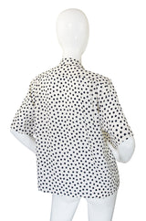 1980s Yves Saint Laurent Silk Dot Top