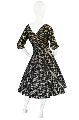 1950s Cut Out Black & Nude Full Skirted Summer Dress