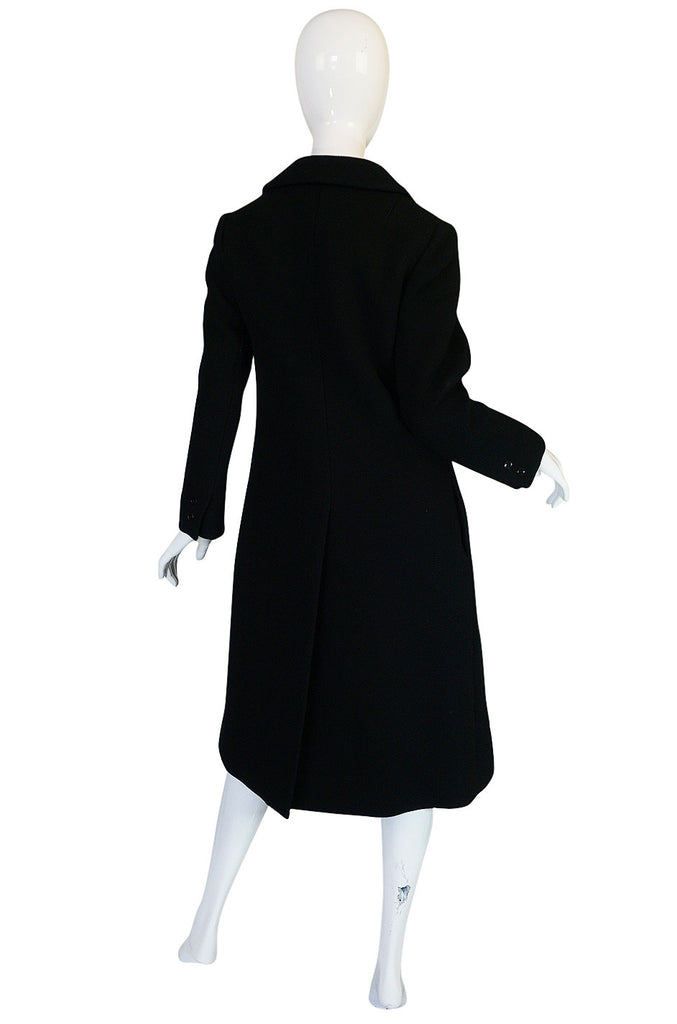 c.1959 Documented Givenchy Haute Couture Black Wool Coat
