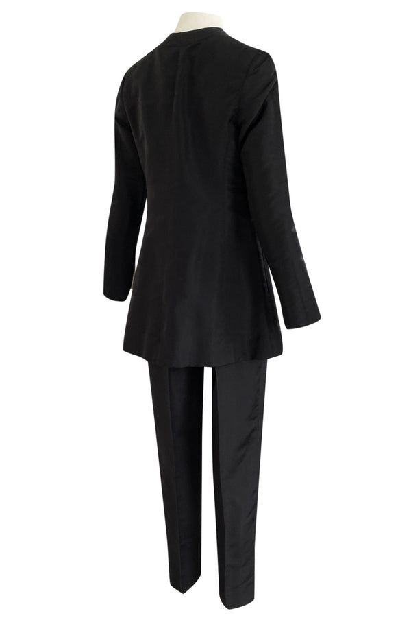 Spring 2000 Chanel Haute Couture Black Silk Taffeta Sculpted Jacket & Tapered Pant Suit Set