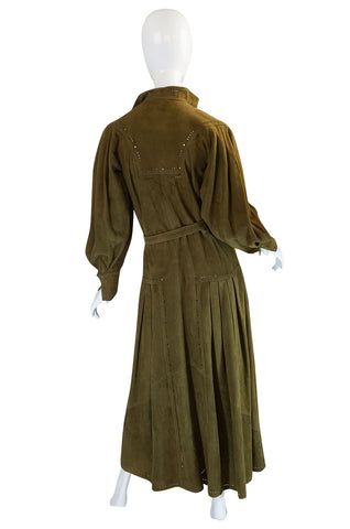 1970s Jean Muir Billowing Sleeve Perforated Olive Suede Dress