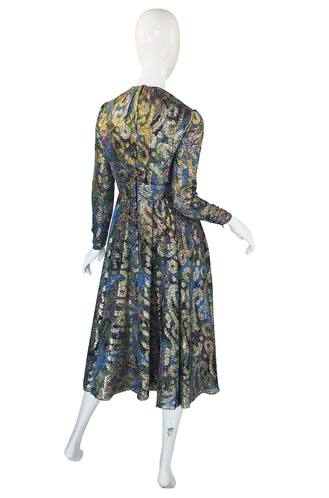 1960s Metallic Thread Keyhole Dress