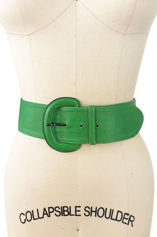 1970s Yves Saint Laurent Green Leather Wide Buckle Belt
