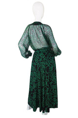 1980s Green Print Chanel Silk Top & Skirt